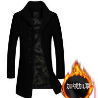 风衣男冬季羊毛呢子大衣中长款妮子外套加绒加厚韩版帅气保暖百搭