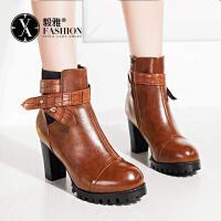 【毅雅】女鞋秋冬新款及踝靴皮带扣马丁靴女高跟粗跟方跟圆头欧美女鞋