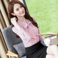 秋季白衬衫女长袖职业正装衬衣显瘦V领工装工作服修身ol韩版百搭