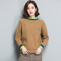秋冬新品女士针织衫 拼色毛衣打底衫 长袖套头韩版毛衣女