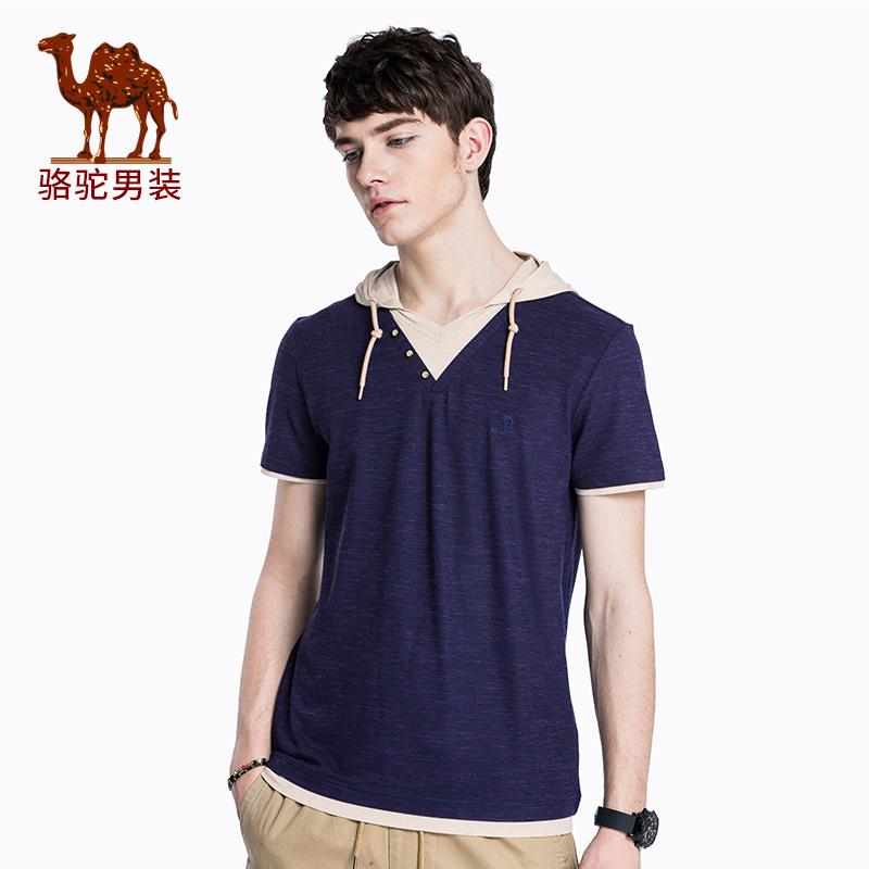 骆驼男装 2018夏季新款连帽撞色假两件短袖t恤薄款棉质男青年潮T
