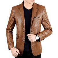 春秋季新款男装休闲中年男士真皮皮衣夹克薄款绵羊皮外套 卡其色 0