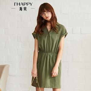 海贝2018夏装新款女绿色文艺翻领松紧收腰口袋套头短袖连衣裙短裙