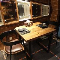 美式实木餐桌西餐桌铁艺咖啡桌休闲桌复古酒吧小方桌烧烤吧台桌椅