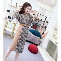 套装女秋冬季2018新款时尚韩版气质格子长袖卫衣+半身裙两件套潮