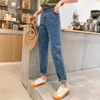 七格格高腰牛仔裤女2019新款夏季韩版宽松显瘦薄款直筒裤子哈伦裤