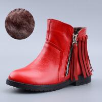 女童真皮马丁靴棉鞋冬新款短靴加绒加厚后跟流苏中大童皮靴子 红色厚绒内里 31