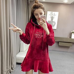 【加绒加厚】RANJU然聚2018春夏女装新品新款韩版中长款荷叶边套头卫衣女宽松显瘦连帽连衣裙