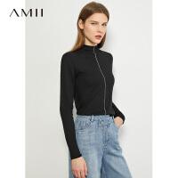 Amii洋�獍敫哳I套�^毛衣女2020秋冬新款�L袖打底衫薄款��衫上衣
