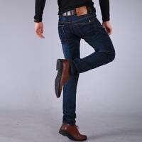 高弹力修身小脚牛仔裤男士秋季大码透气男裤弹性休闲长裤子四季款 常规复古色