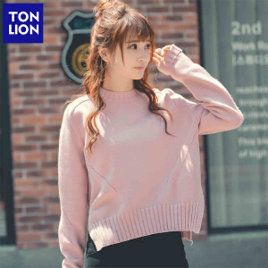 【2件3折价102.6元】唐狮高领短款韩版女毛衣白粉色宽松毛线衣学生针织打底衫春装套头