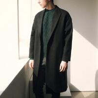 冬季新品韩版呢子大衣中长款男士西装领青年毛呢外套羊绒大衣男装 黑色 S