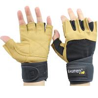 健身手套男士 运动手套 器械训练 哑铃单杠 半指手套加长护腕 黄色