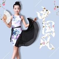 儿童拉丁舞裙 女孩拉丁服装春夏季旗袍款练功服演出服表演服