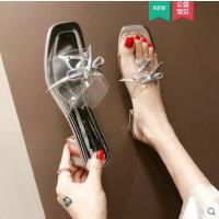 系带透明拖鞋女中跟新款韩版外穿时尚洋气款粗跟一字拖潮