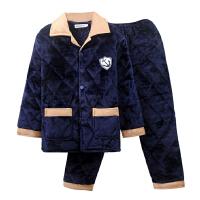 冬季男士睡衣加绒中老年夹棉袄珊瑚绒保暖秋冬款可外穿家居服