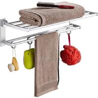 免打孔毛巾架折叠活动双层太空铝浴室浴巾架卫生间置物架挂件
