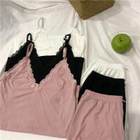 春夏新款韩版蕾丝花边吊带背心短裤家居服套装性感女士睡衣两件套