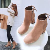 【毅雅】新款时尚粗高跟短靴子女士靴子女鞋 YM7WB7357