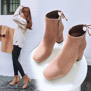 【满200减100】【毅雅】新款时尚粗高跟短靴子女士靴子女鞋 YM7WB7357