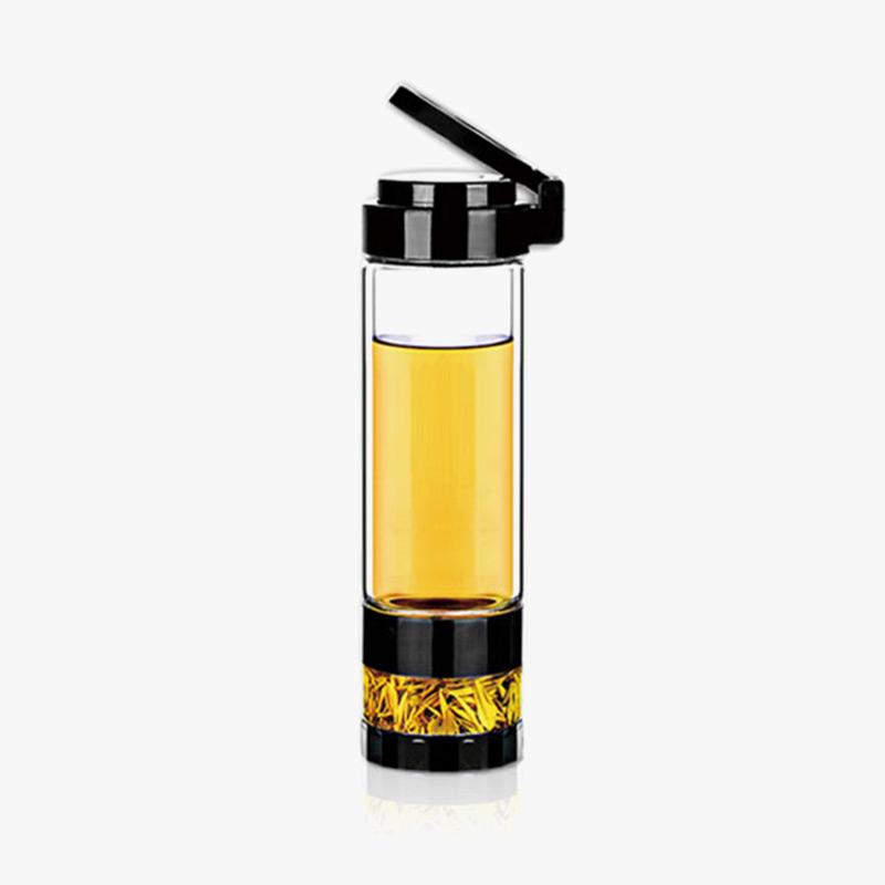 当当优品 双层耐热玻璃茶水分离玻璃杯 旅行泡茶杯 560ML高硼硅玻璃 茶水分离 耐热防烫 隐形提手 560ML