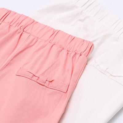 amii童装2017夏季女童中大童纯色休闲裤简约直筒中腰儿童长裤
