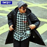 【限时秒杀价:189元】AMAPO潮牌大码男装冬季加绒加厚保暖外套加肥加大宽松中长款风衣