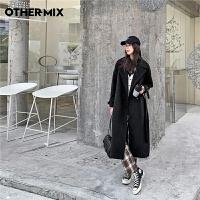 七格格othermix黑色毛呢大衣女2020年冬季新款加厚保暖宽松中长款呢子外套
