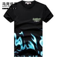 国潮水浒马克华菲短袖T恤男2021夏季新款潮牌oversize纯棉宽松ins