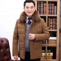 羽绒服男中年中长款狐狸毛领中老年加厚爸爸装白鸭绒宽松保暖外套
