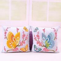 新款十字绣抱枕卡通植物花系列蝴蝶花一对抱枕沙发靠枕头汽车靠垫 含枕芯