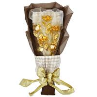黄金玫瑰花束创意送女生女友男朋友定制生日礼物摆件情人节礼品