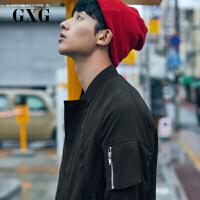 GXG男装 2018春季新品黑色时尚休闲棒球领夹克外套男#181821158