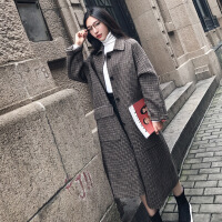 实拍 复古随性2017秋冬新款韩国千鸟格宽松羊毛呢大衣女呢料外套 千鸟格
