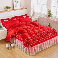家纺公主风磨毛四件套 蕾丝花边床裙款加厚四件套1.5/1.8米床上用品 1.2米床:被套160*210 床裙120*2