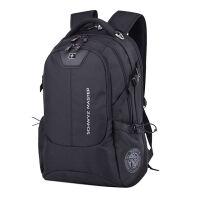 大容背包女士旅游旅行包简约双肩背包容量多功能氙气灯充电器男士锂电池女士大容量 灰色小号 套餐一