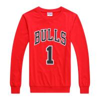 20180317202822672公牛队1号罗斯运动长袖T恤玫瑰篮球衣训练服运动卫衣