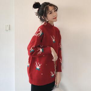 【热卖网红爆款】冬季2018新款圣诞节麋鹿红色半高领毛衣女宽松显瘦长袖打底针织衫半高领宽松学生长袖打底针织衫