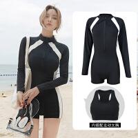 新款泳衣女士运动连体平角保守显瘦遮肚潜水长袖温泉潜水服 黑白2件套