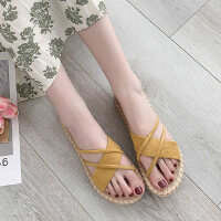 韩版户外女士平底鞋时尚草编拖鞋女外穿休闲百搭女鞋