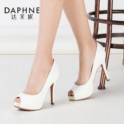 Daphne/达芙妮春季 超高跟防水台PU鱼嘴单鞋女达芙妮PU鱼嘴单鞋女