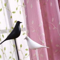 棉麻田园飘窗小窗户窗帘成品简约现代短窗帘挂钩式卧室遮光小清新 粉红色 单层布帘