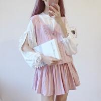 甜美学院风粉嫩针织衫马甲+蕾丝绣花花边拼接长袖雪纺衫