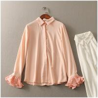春季宽松POLO领喇叭袖纯色薄款单排扣衬衫女23763
