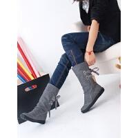 2015新款秋冬靴子女春秋中靴平跟秋季女鞋短靴平底学生内增高单靴