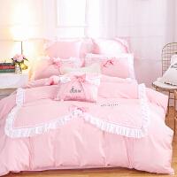 家�床上四件套全棉�棉公主�L粉色甜美款1.8m床�伪惶缀扇~�床上用品 Anna-XR