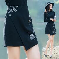 原创设计春季新款女装民族风绣花不规则毛呢短裙