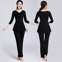 广场舞服装 新款套装 春季长袖中老年跳舞衣服两件套舞蹈服女 黑色 纯黑色上衣+裤子