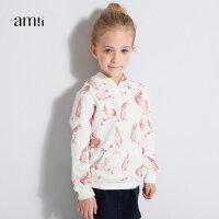 amii童装年秋新品儿童宝宝连帽长袖可爱印花T恤棉质女童上衣+
