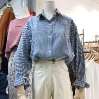 韩国ulzzang2018春装新款韩范宽松POLO领格子衬衫女长袖打底上衣